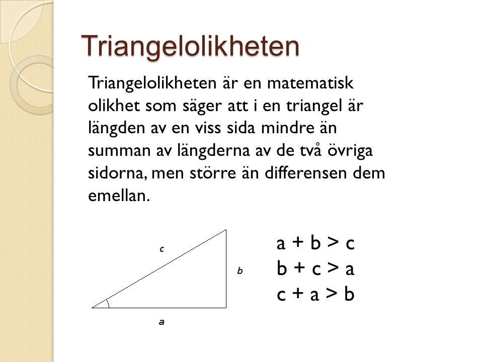 Triangelolikheten a + b > c b + c > a c + a > b
