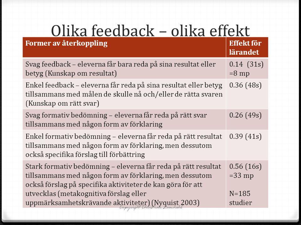 Olika feedback – olika effekt