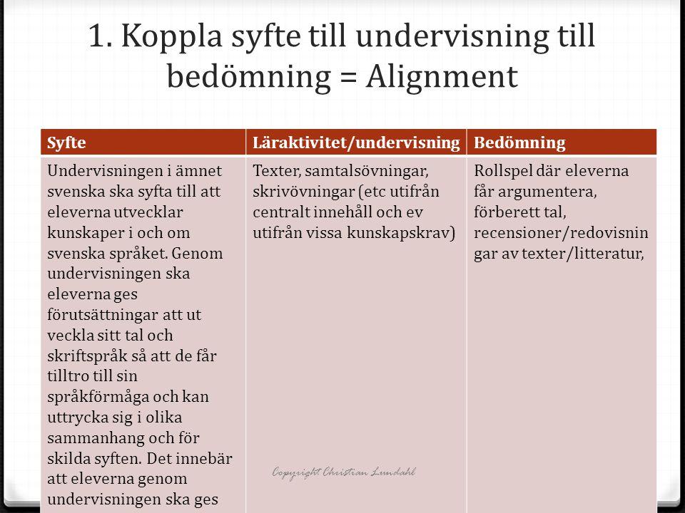 1. Koppla syfte till undervisning till bedömning = Alignment