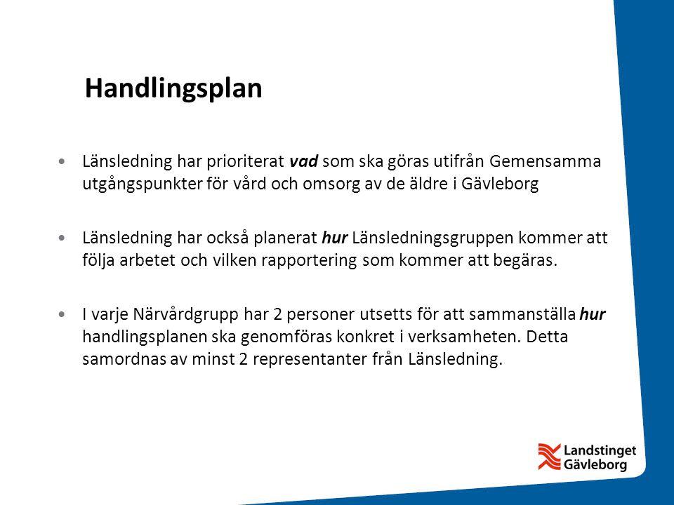 Handlingsplan Länsledning har prioriterat vad som ska göras utifrån Gemensamma utgångspunkter för vård och omsorg av de äldre i Gävleborg.
