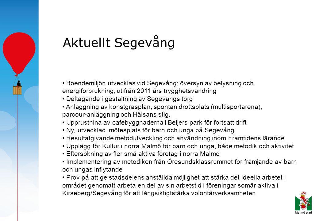Aktuellt Segevång • Boendemiljön utvecklas vid Segevång; översyn av belysning och energiförbrukning, utifrån 2011 års trygghetsvandring.
