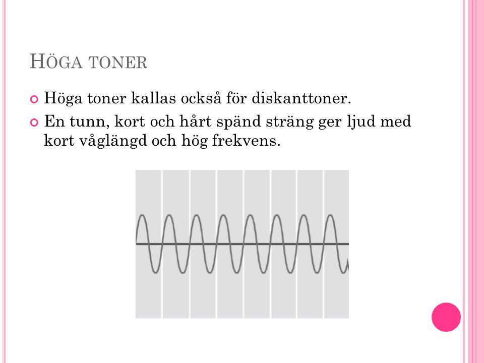 Höga toner Höga toner kallas också för diskanttoner.