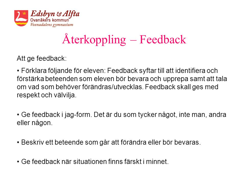 Återkoppling – Feedback