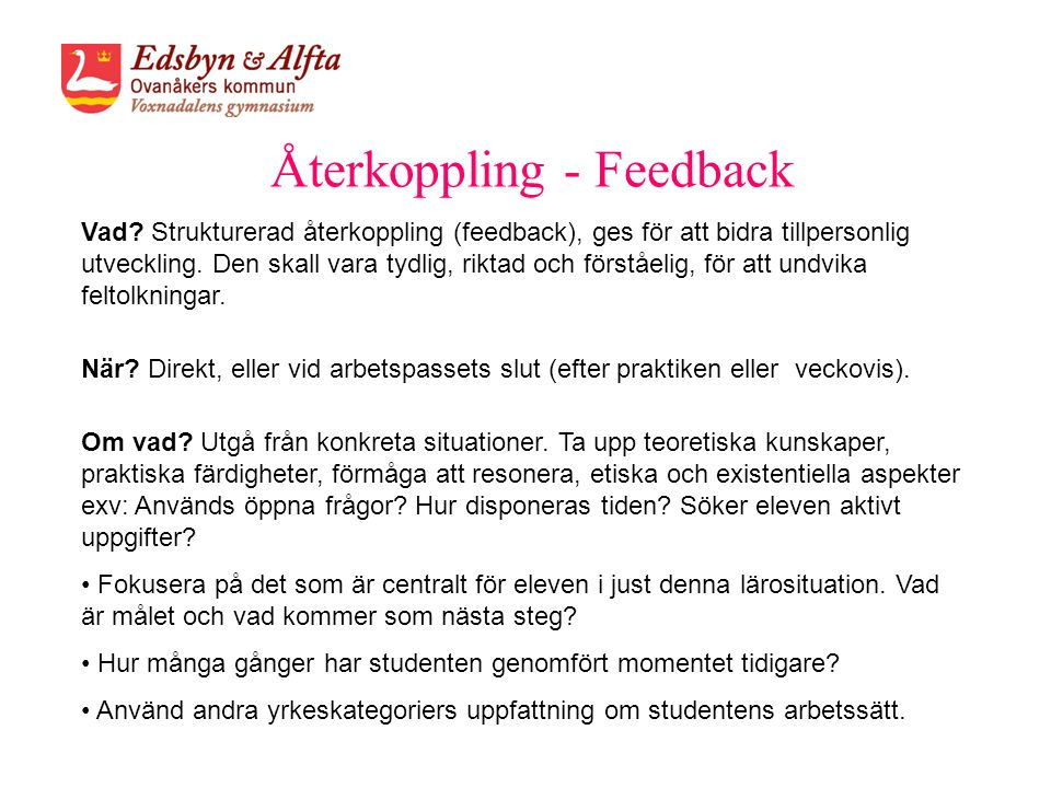 Återkoppling - Feedback