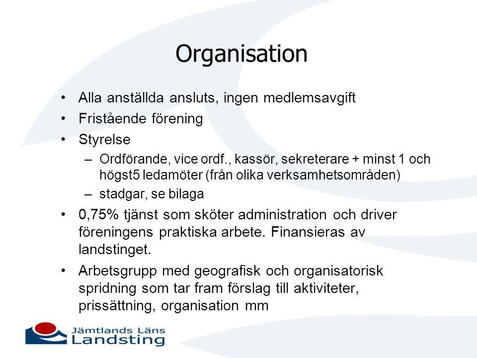 Organisation Alla anställda ansluts, ingen medlemsavgift