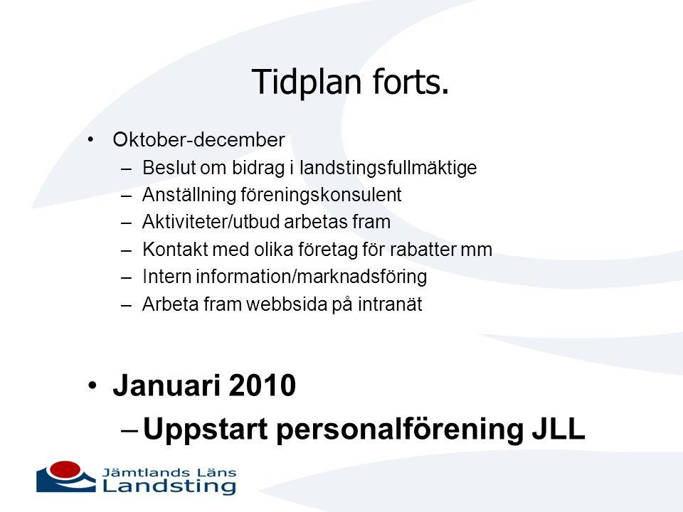 Tidplan forts. Januari 2010 Uppstart personalförening JLL