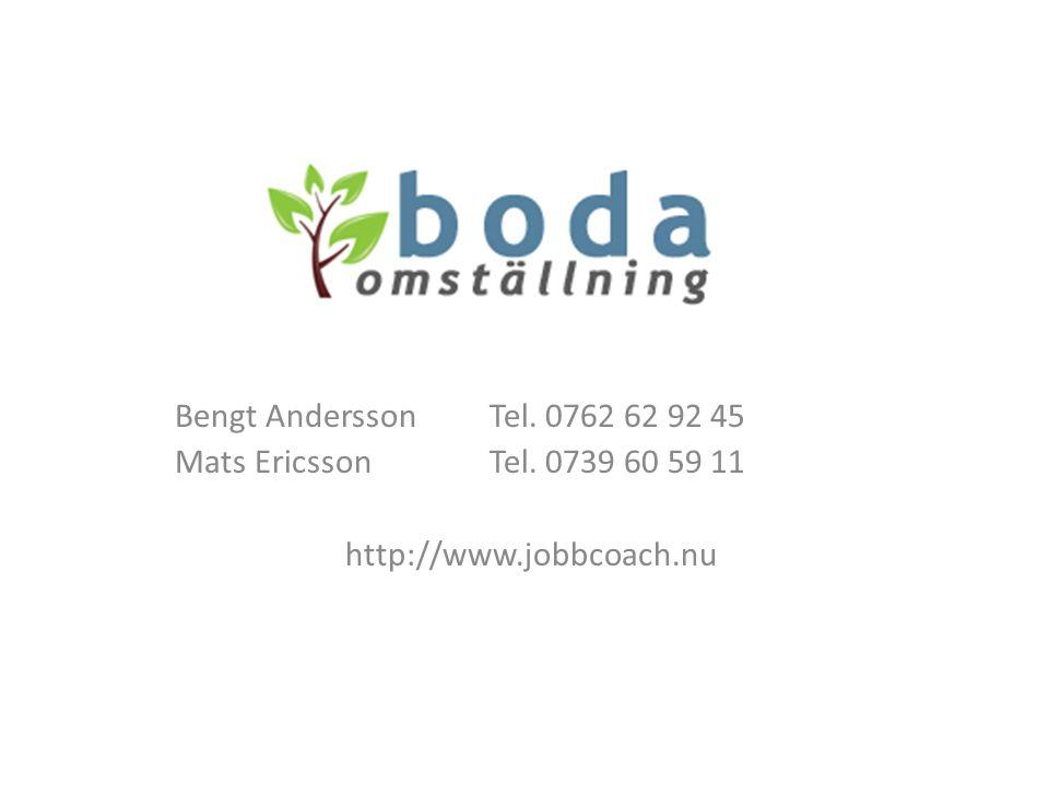 Bengt Andersson Tel. 0762 62 92 45 Mats Ericsson Tel. 0739 60 59 11 http://www.jobbcoach.nu
