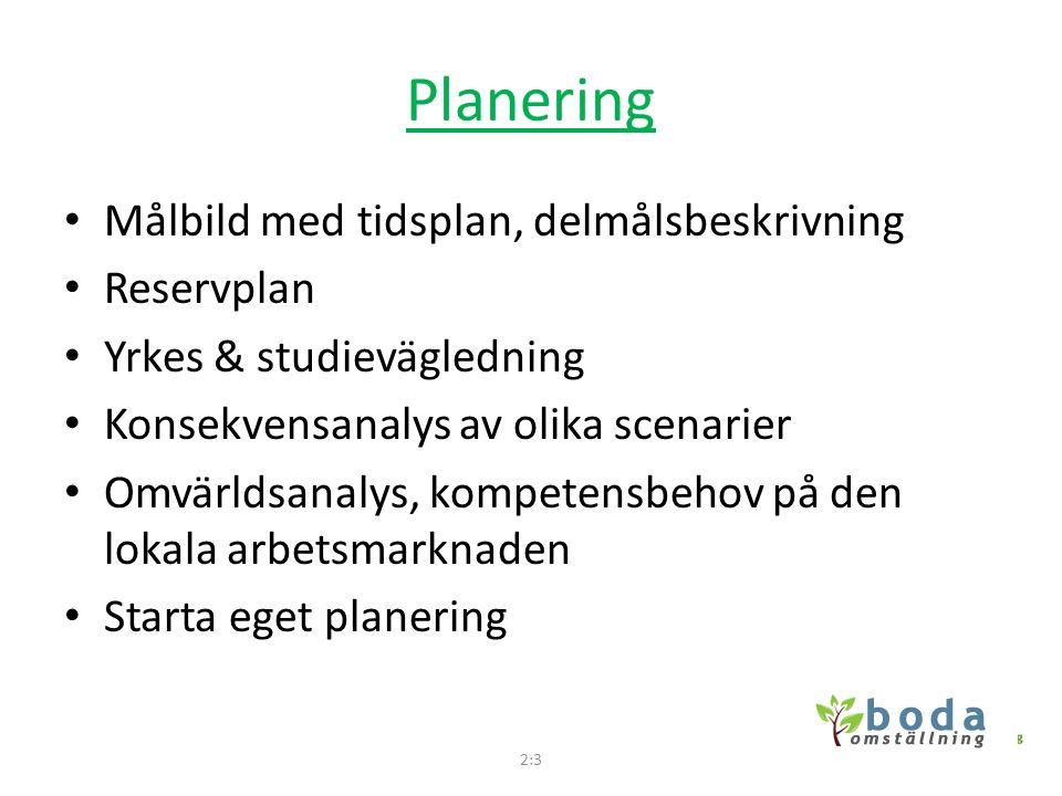 Planering Målbild med tidsplan, delmålsbeskrivning Reservplan