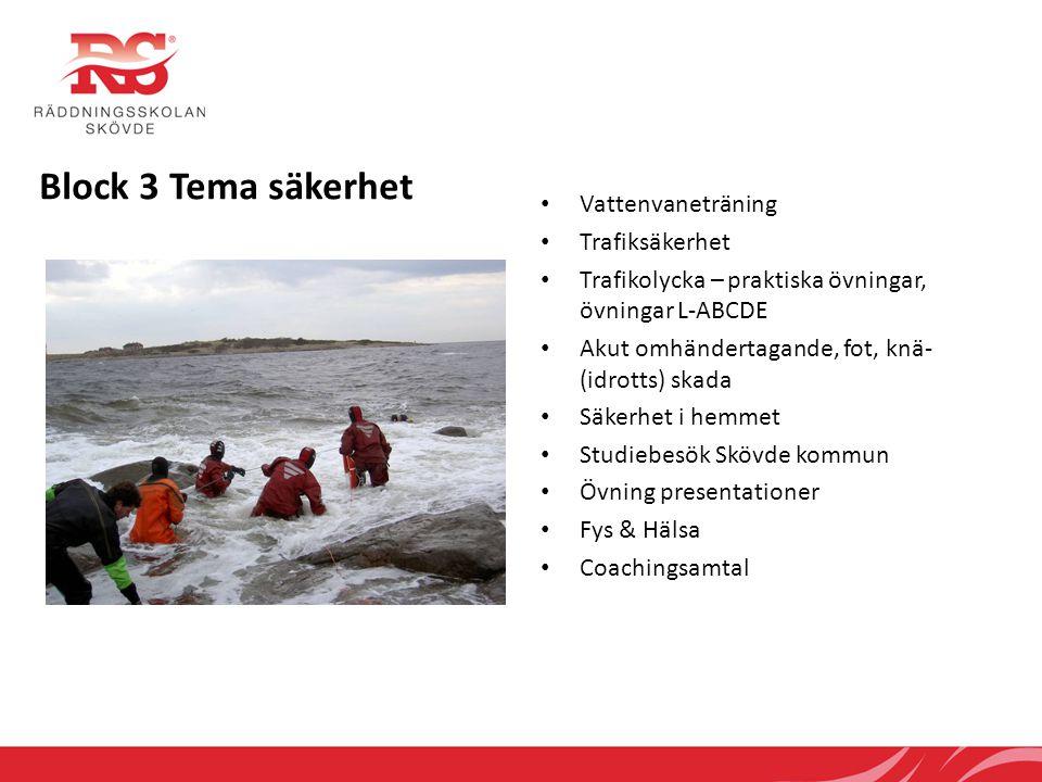 Block 3 Tema säkerhet Vattenvaneträning Trafiksäkerhet