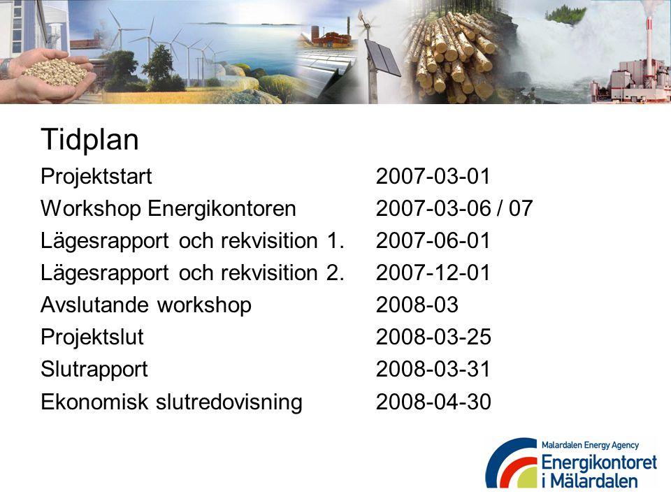 Tidplan Projektstart 2007-03-01
