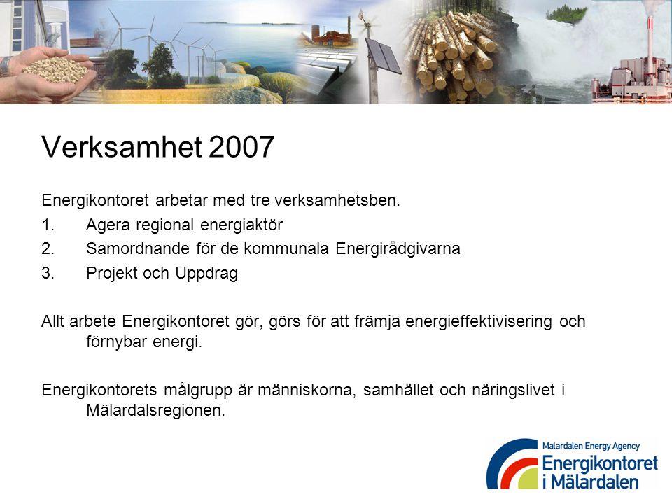 Verksamhet 2007 Energikontoret arbetar med tre verksamhetsben.