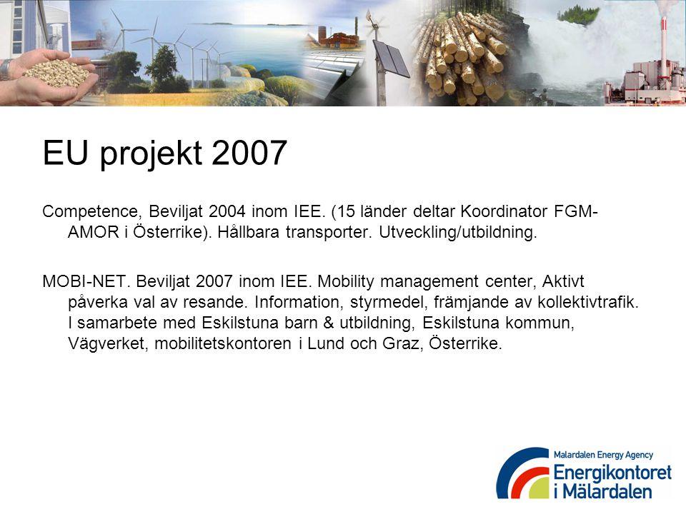 EU projekt 2007 Competence, Beviljat 2004 inom IEE. (15 länder deltar Koordinator FGM-AMOR i Österrike). Hållbara transporter. Utveckling/utbildning.