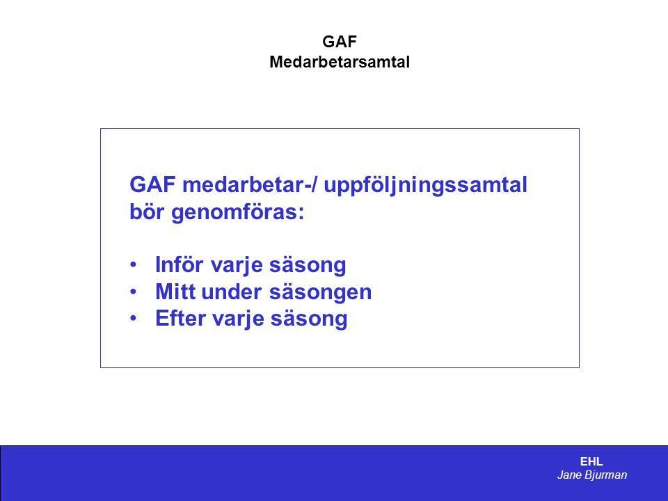 GAF medarbetar-/ uppföljningssamtal bör genomföras: Inför varje säsong