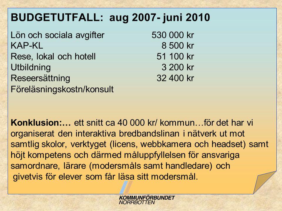BUDGETUTFALL: aug 2007- juni 2010 Lön och sociala avgifter