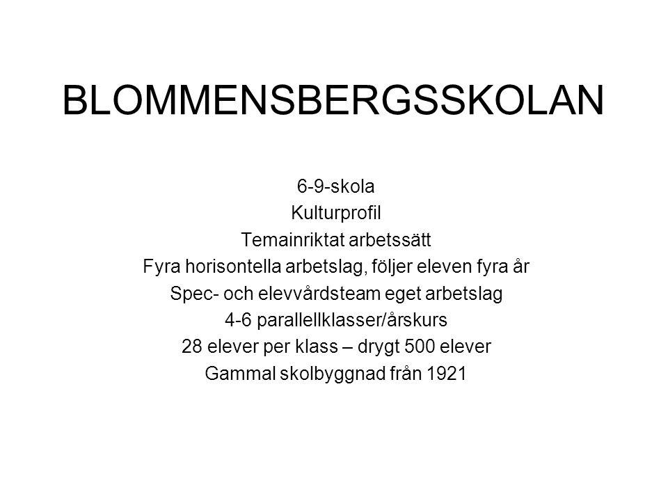 BLOMMENSBERGSSKOLAN 6-9-skola Kulturprofil Temainriktat arbetssätt