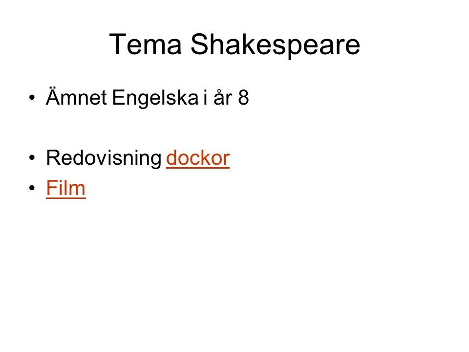 Tema Shakespeare Ämnet Engelska i år 8 Redovisning dockor Film