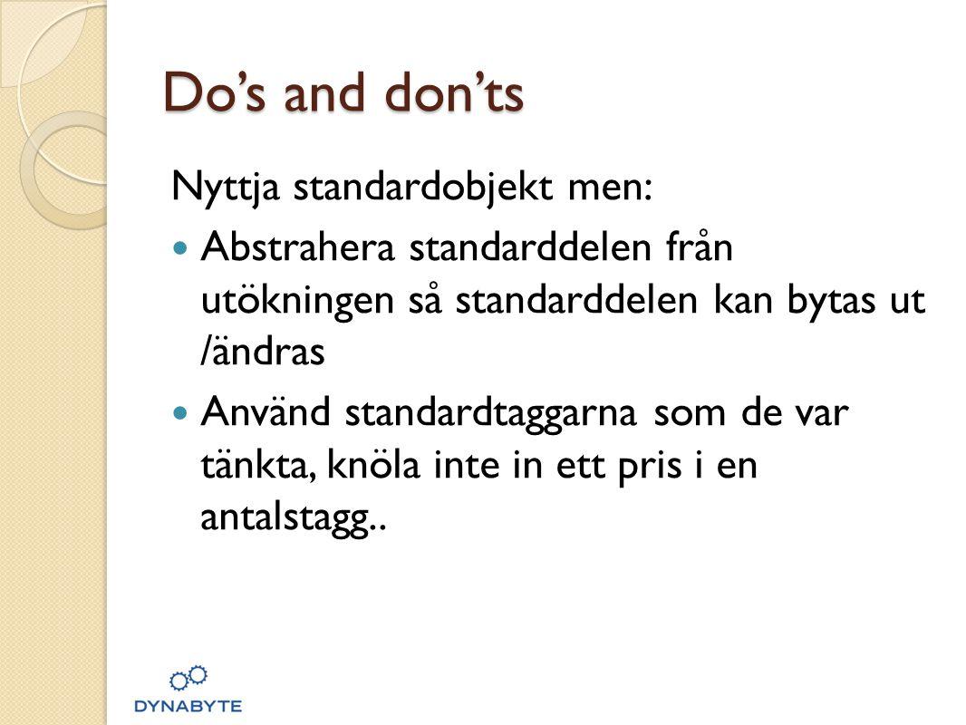 Do's and don'ts Nyttja standardobjekt men: