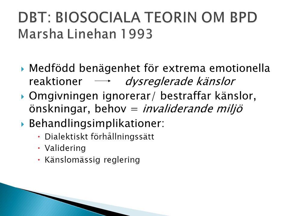 DBT: BIOSOCIALA TEORIN OM BPD Marsha Linehan 1993