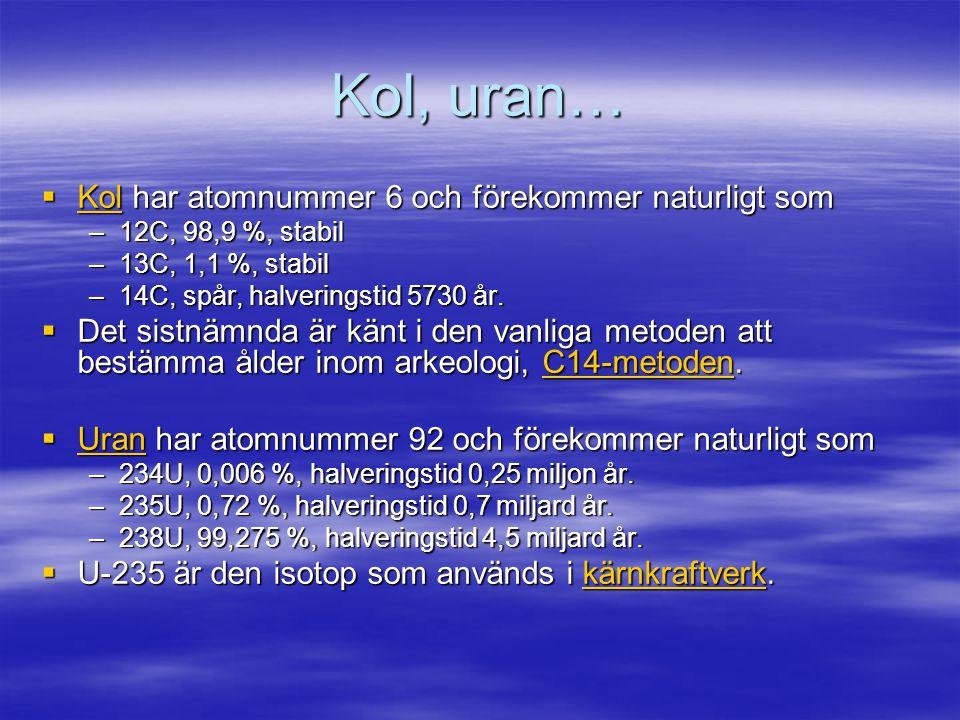 Kol, uran… Kol har atomnummer 6 och förekommer naturligt som