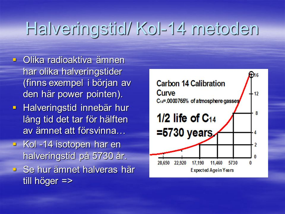 Halveringstid/ Kol-14 metoden