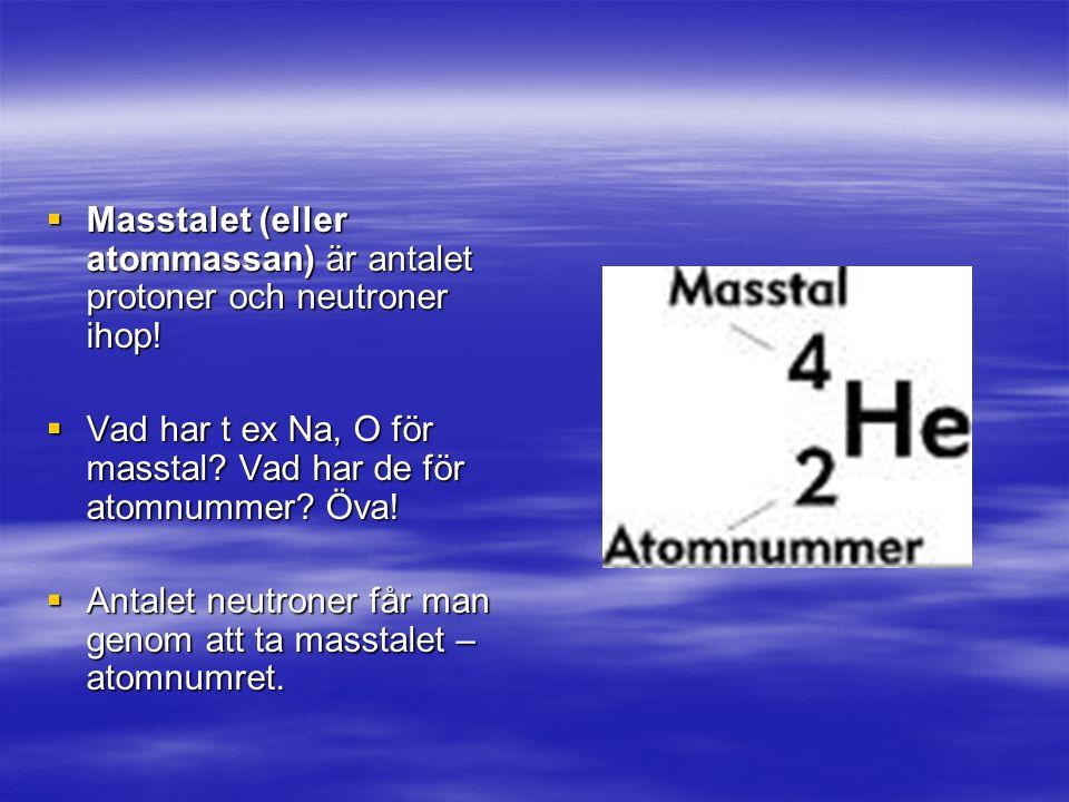 Masstalet (eller atommassan) är antalet protoner och neutroner ihop!