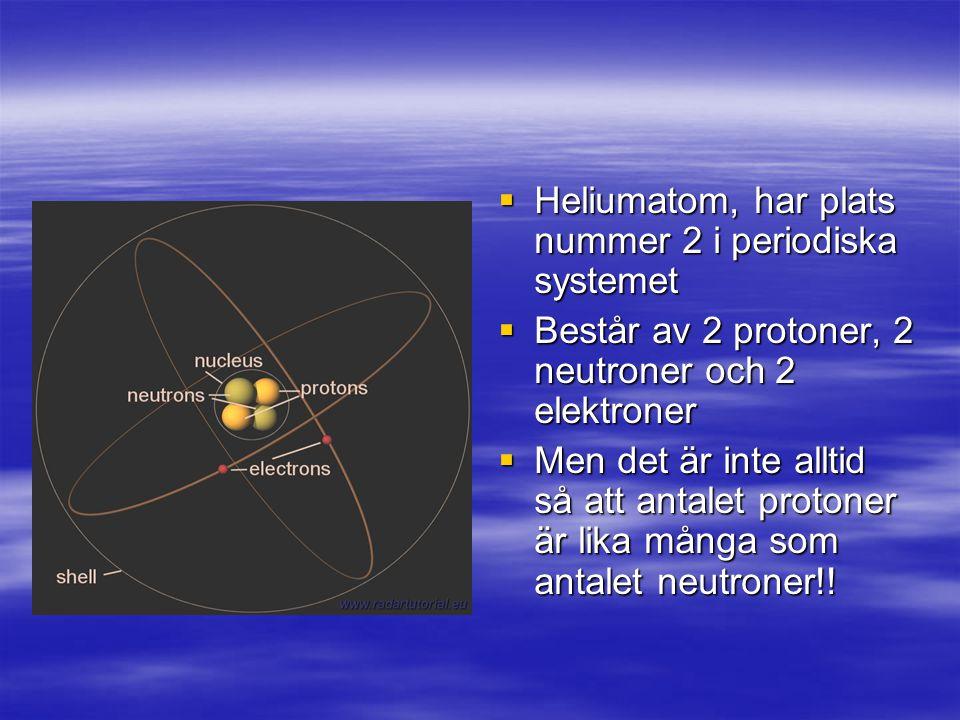 Heliumatom, har plats nummer 2 i periodiska systemet