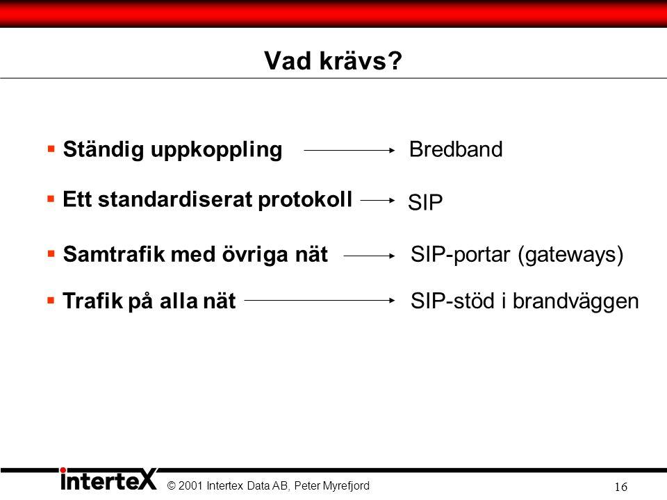 Vad krävs Ständig uppkoppling Bredband Ett standardiserat protokoll