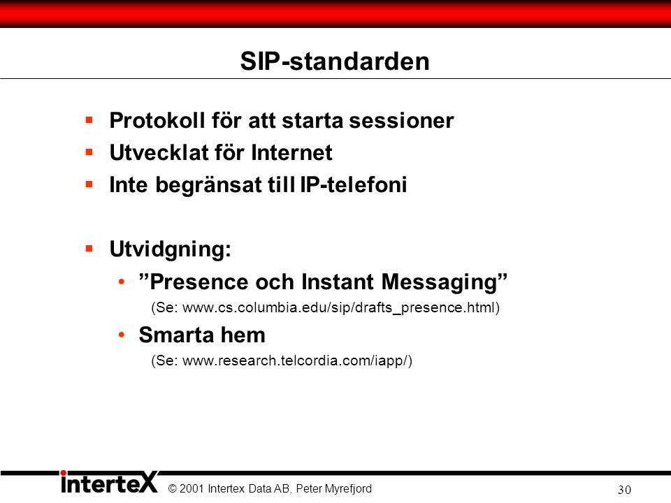 SIP-standarden Protokoll för att starta sessioner