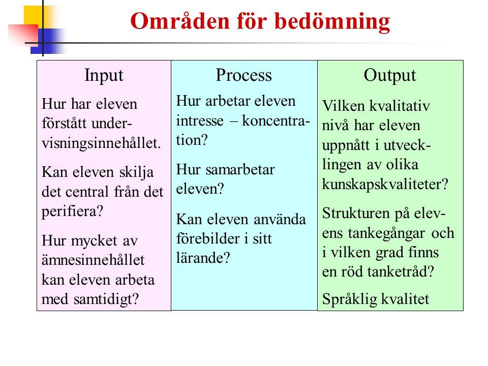 Områden för bedömning Input Process Output