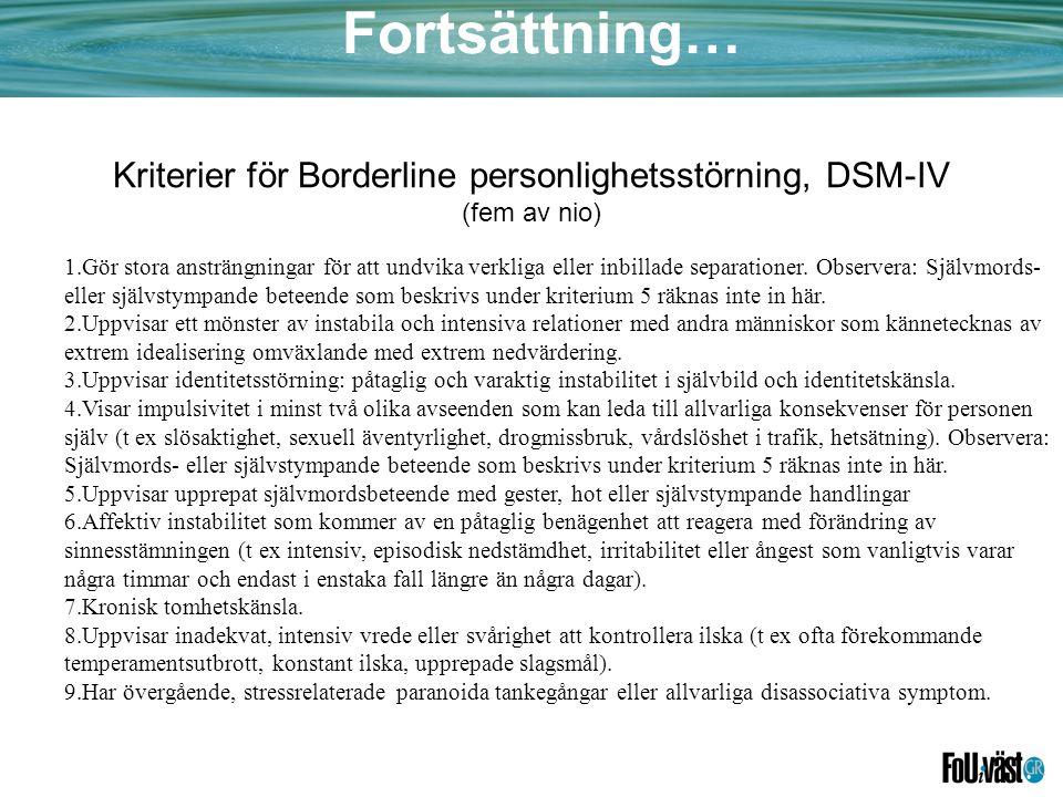 Kriterier för Borderline personlighetsstörning, DSM-IV (fem av nio)