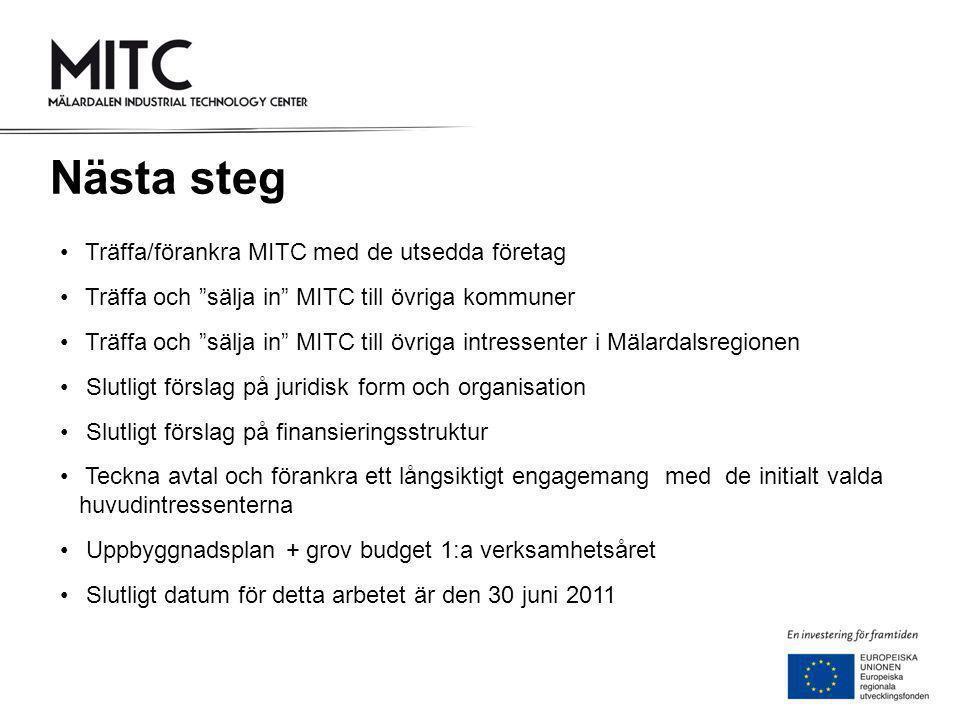 Nästa steg Träffa/förankra MITC med de utsedda företag