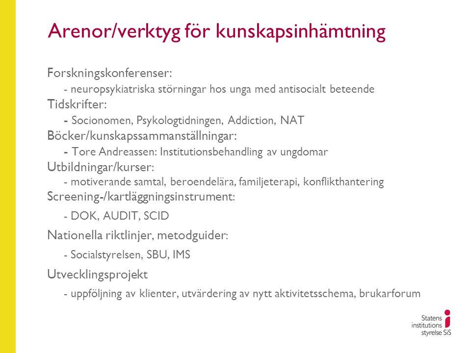 Arenor/verktyg för kunskapsinhämtning