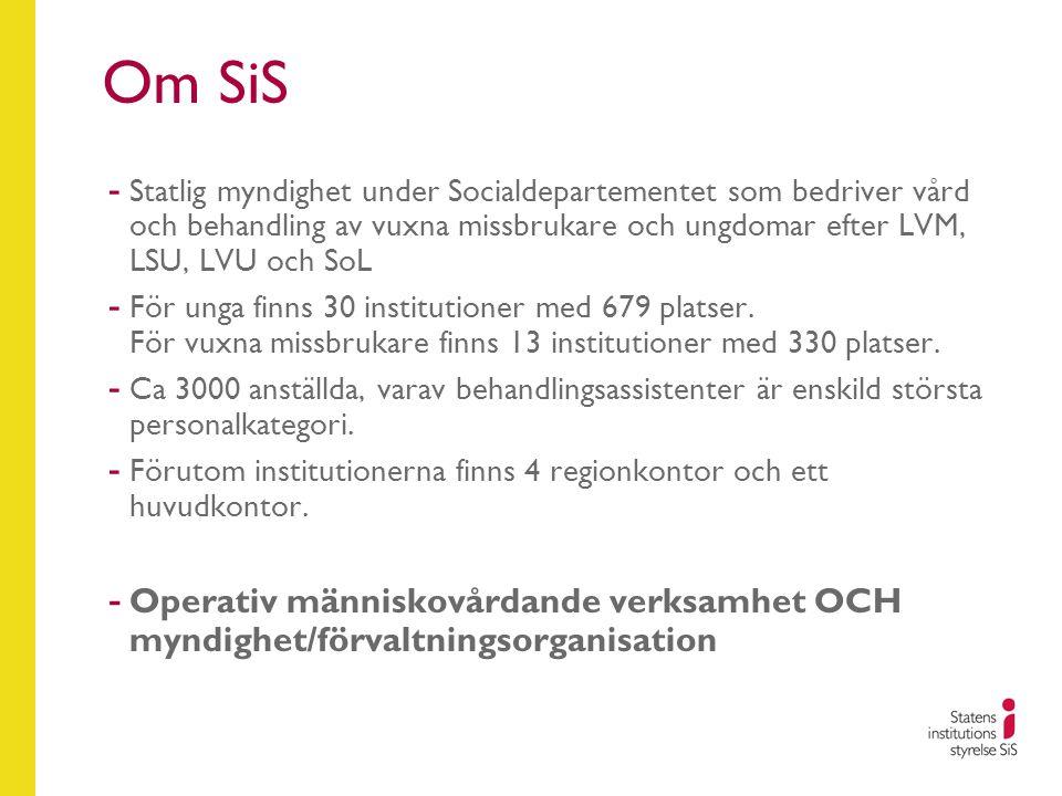 Om SiS Statlig myndighet under Socialdepartementet som bedriver vård och behandling av vuxna missbrukare och ungdomar efter LVM, LSU, LVU och SoL.