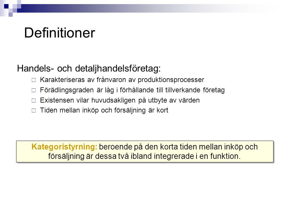 Definitioner Handels- och detaljhandelsföretag:
