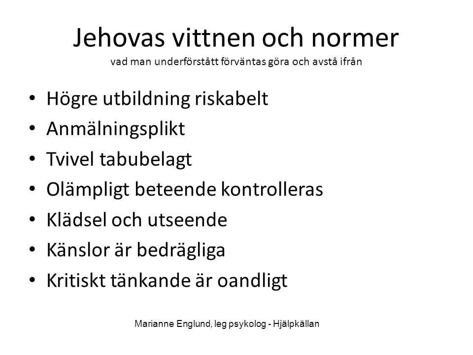 Marianne Englund, leg psykolog - Hjälpkällan