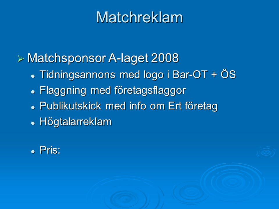 Matchreklam Matchsponsor A-laget 2008