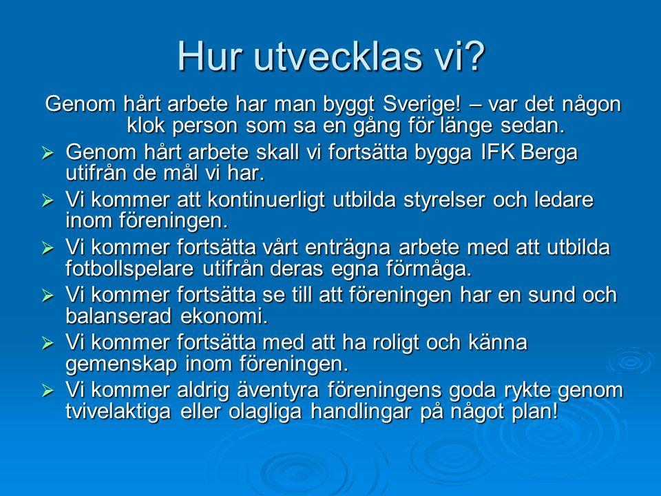 Hur utvecklas vi Genom hårt arbete har man byggt Sverige! – var det någon klok person som sa en gång för länge sedan.