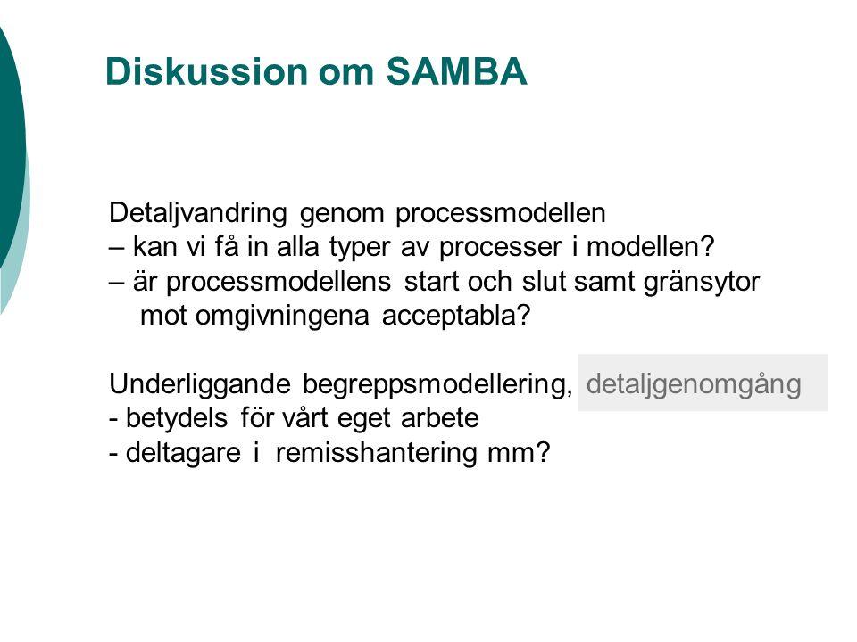 Diskussion om SAMBA Detaljvandring genom processmodellen