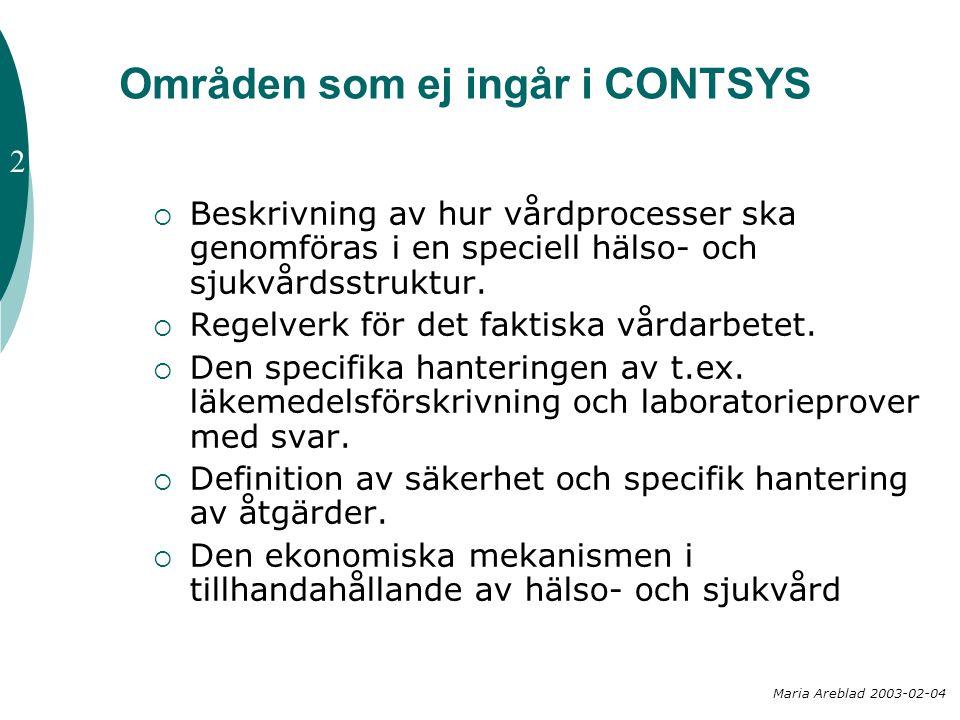 Områden som ej ingår i CONTSYS