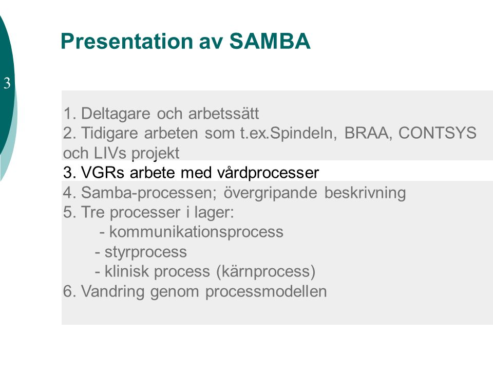 Presentation av SAMBA 3 1. Deltagare och arbetssätt