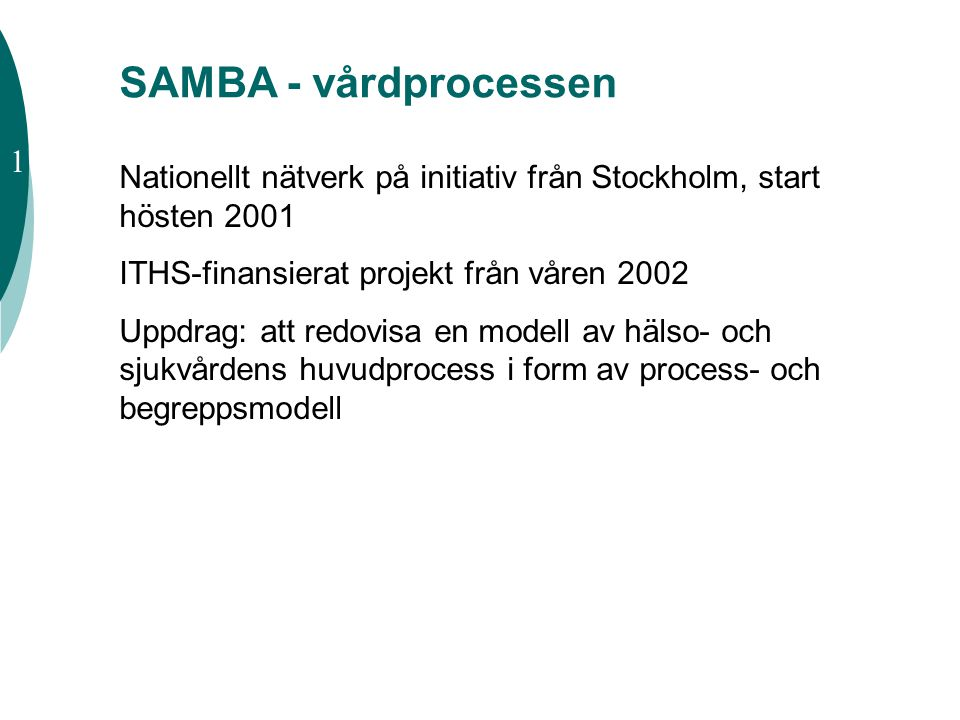 SAMBA - vårdprocessen 1. Nationellt nätverk på initiativ från Stockholm, start hösten 2001. ITHS-finansierat projekt från våren 2002.