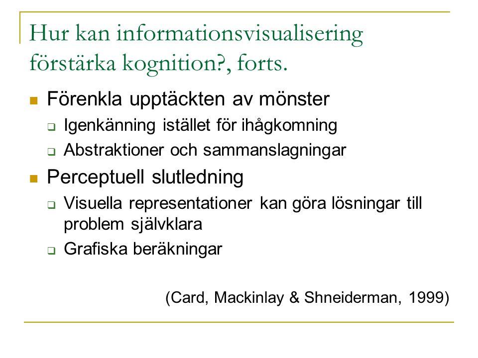 Hur kan informationsvisualisering förstärka kognition , forts.