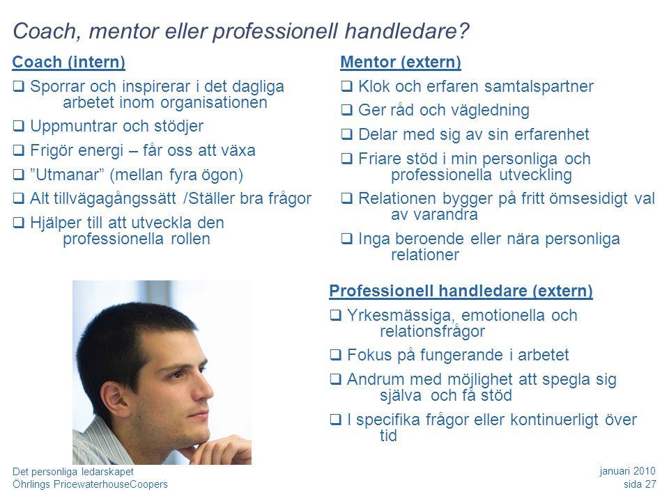 Coach, mentor eller professionell handledare