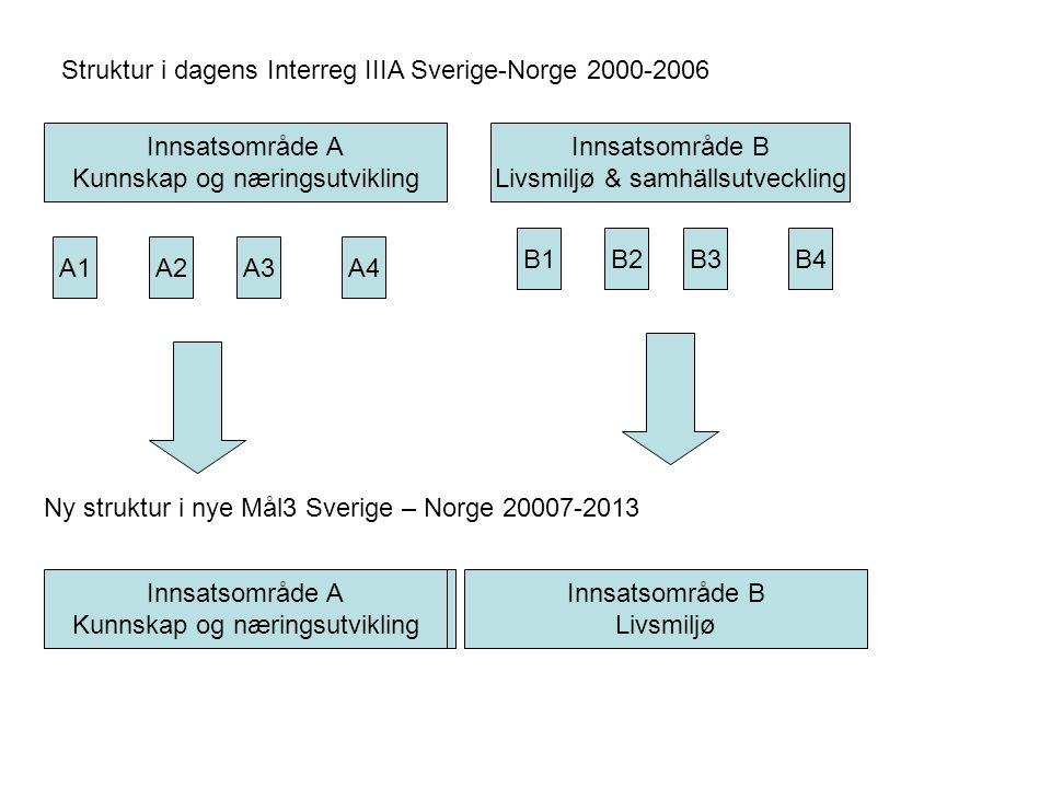 Struktur i dagens Interreg IIIA Sverige-Norge 2000-2006