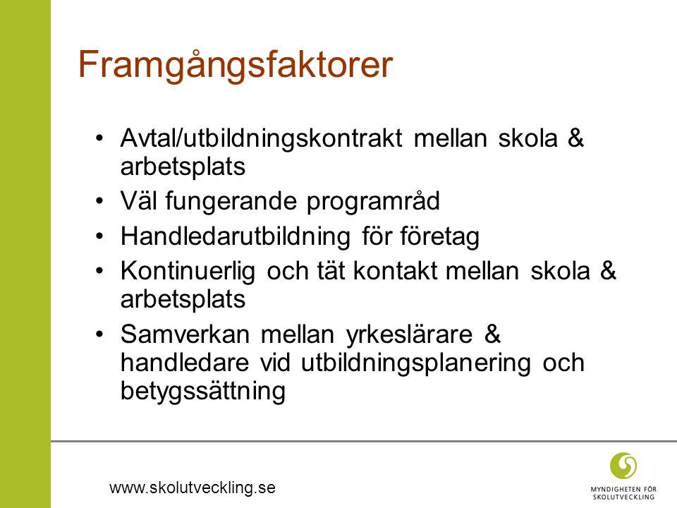 Framgångsfaktorer Avtal/utbildningskontrakt mellan skola & arbetsplats