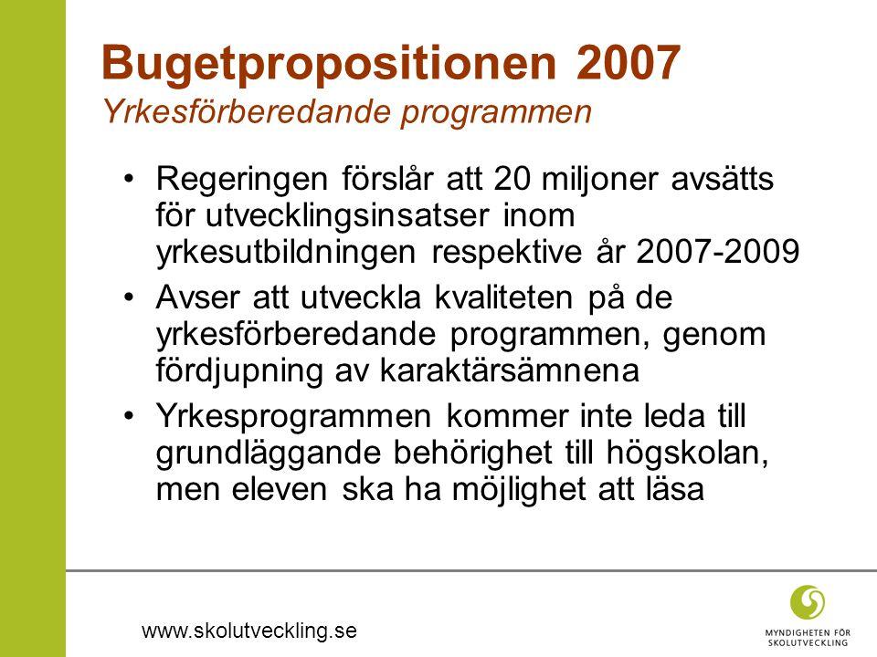 Bugetpropositionen 2007 Yrkesförberedande programmen