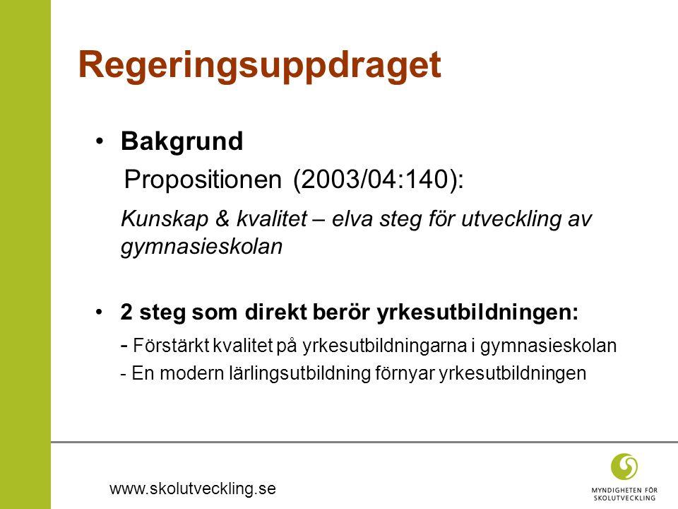 Regeringsuppdraget Bakgrund Propositionen (2003/04:140):