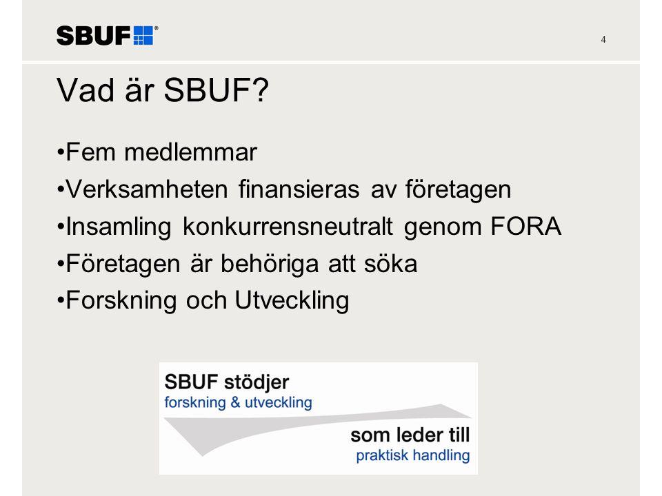 Vad är SBUF Fem medlemmar Verksamheten finansieras av företagen