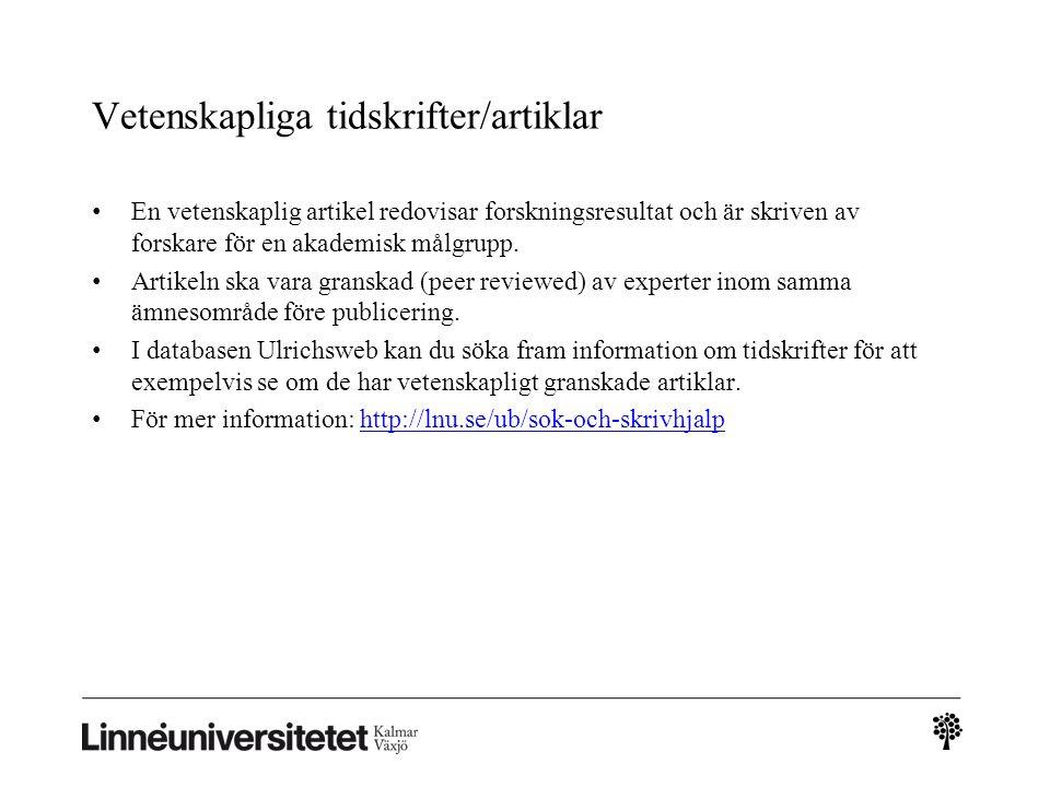 Vetenskapliga tidskrifter/artiklar
