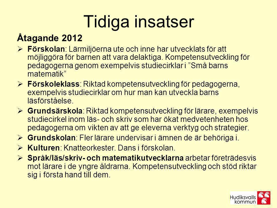 Tidiga insatser Åtagande 2012